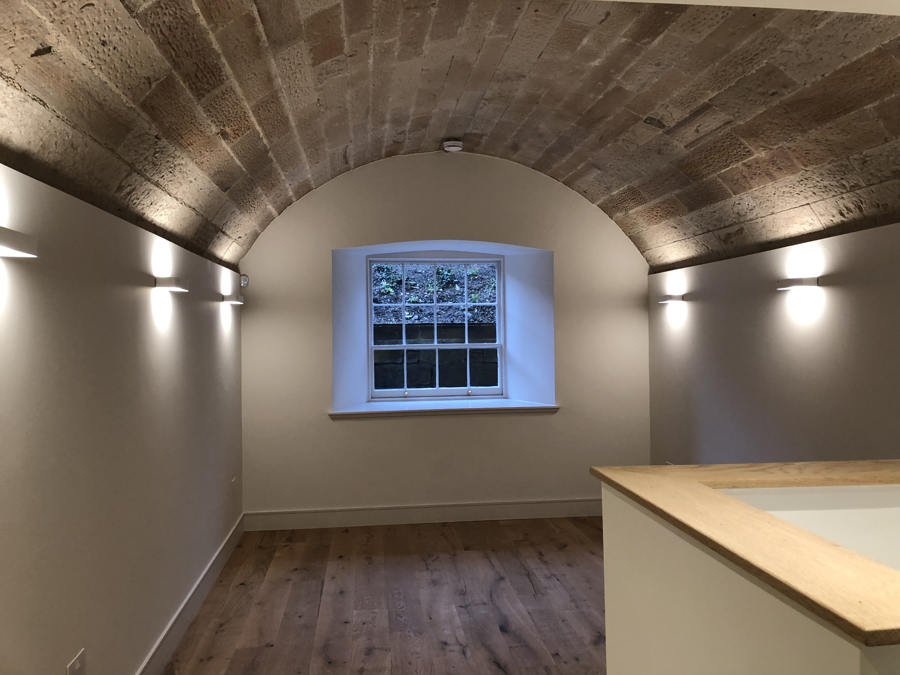 rewiring complete in basement plot at Donaldsons in Edinburgh