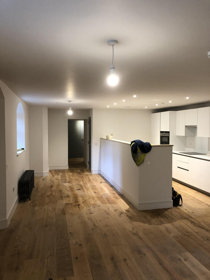 electrical rewiring of refurbished apartment at Donaldsons