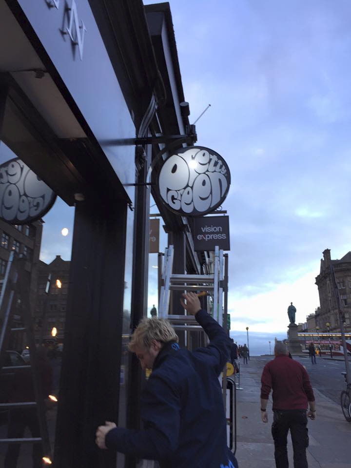 exterior lighting installation at Pretty Green shop in Edinburgh